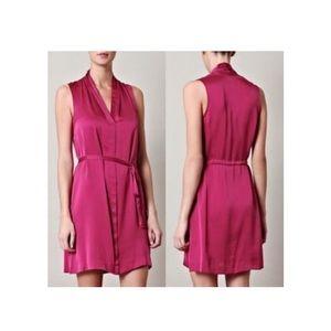 Theory Imishra Poignant Silk Sleeveless Tie Dress